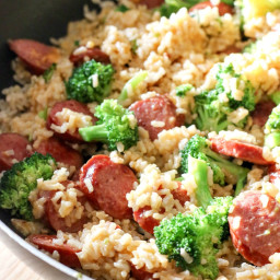 Smoked Sausage and Rice One Skillet Meal