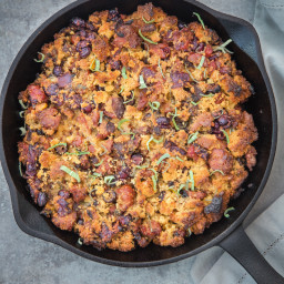 Smoked Sausage, Caramelized Onion, and Cornbread Stuffing cooked on the Smo