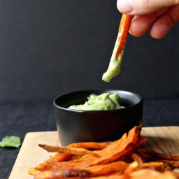 Smoky and Spicy Baked Sweet Potato Fries|Avocado, Cilantro and Lime Dipping