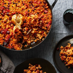 Smoky Baked Rice with Chorizo & All the Garlic (No Peeling, Chopping, M