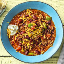 Smoky Beef Chili with Kidney Beans, Cheddar and Sour Cream