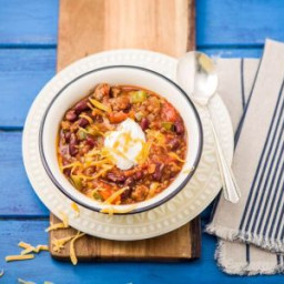 Smoky Beef & Poblano Chili with Kidney Beans, Cheddar, and Sour Cream