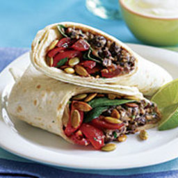 Smoky Black Bean and Cheddar Burrito with Baby Spinach
