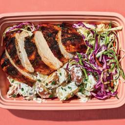 Smoky Chicken With Potato Salad and Slaw