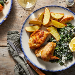 Smoky Half Chickens with Creamed Kale & Potato Wedges