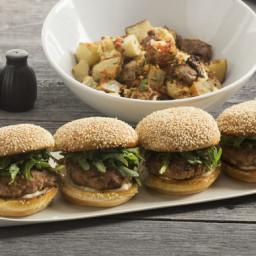 Smoky Pork Burgerswith Cauliflower, Pepper and Potato Salad