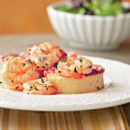 Smoky Shrimp and Parmesan-Polenta Cakes
