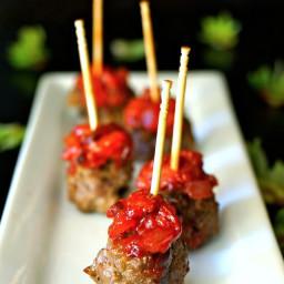 Smoky Strawberry-Chipotle Compote Bacon-Meatballs