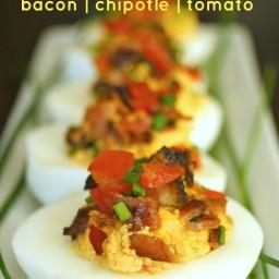 Smoky Tomato-Bacon-Chipotle Deviled Eggs