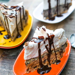 S'mores Ice Cream Pie with Salted Butter Chocolate Sauce