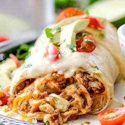 Smothered Baked Chicken Burritos