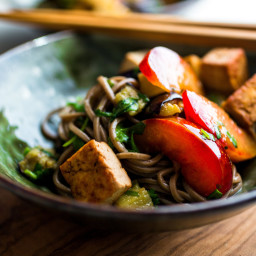 Soba and Herb Salad With Roasted Eggplant and Pluots