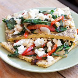Socca Chickpea FlatbreadTopped with Bell Pepper, Onion and Dandelion Greens
