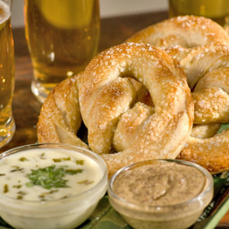 Soft Pretzels with Queso Poblano Sauce and Mustard Sauce