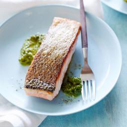 Sorrel Pistachio Pesto with Seared Salmon