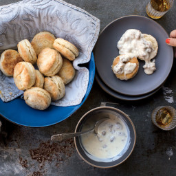 Sour Cream Biscuits with Sausage Gravy