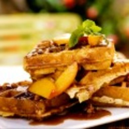 Sour Cream Waffles with Fresh Peaches and Toasted Pecan Praline Sauce