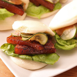 Sous Vide Pork Belly Buns With Pork Braise Mayonnaise and Quick-Pickled Cuc