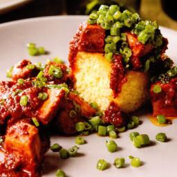 Southern-Style Pork Vindaloo and Green Bean Verakka with Cardamom Cornbread