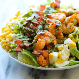 Southwest Cobb Salad with Chicken or Shrimp with Cilantro Dressing