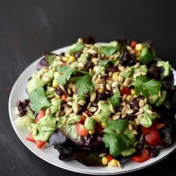 Southwestern Salad with Creamy Avocado Dressing