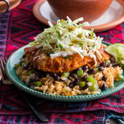 Southwestern simmered sole with cilantro-lime slaw over brown rice