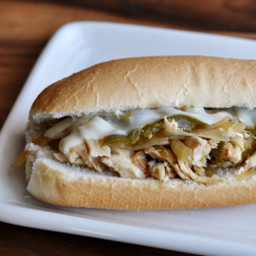 Sow cooker chicken Philly sandwiches