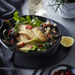 Soy and Ginger Fish with Mushrooms and Greens