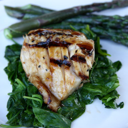 Soy Ginger Black Cod with Wilted Spinach and Asparagus