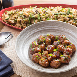 Soy-Ginger Pork Meatballswith Eight Ball Squash and Snow Pea Fried Rice