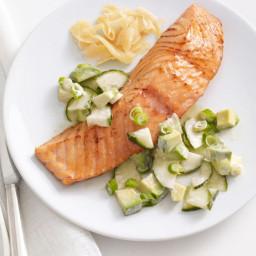 Soy-Glazed Salmon With Cucumber-Avocado Salad