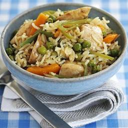 Soy steamed chicken with oriental rice
