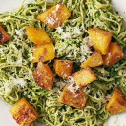 Soybean Pasta with Kale Pesto and Squash