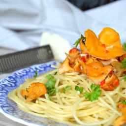 Spaghetti aux chanterelles et au cognac