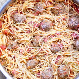 Spaghetti Pomodoro with Homemade 15 Minute Meatballs