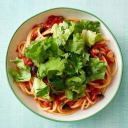 Spaghetti Puttanesca with Escarole Salad