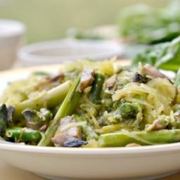 Spaghetti Squash with Fresh Veggies and Homemade Pesto!