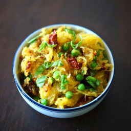 Spaghetti Squash with Sun-Dried Tomatoes & Peas