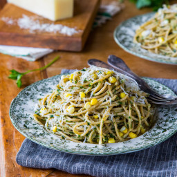 Spaghetti with Corn and Parsley Pesto