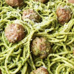 Spaghetti with Kale Pesto and Meatballs