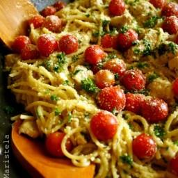 Spaghetti with Lemon-Herb Chicken, Cherry Tomatoes and Garlic Gravy