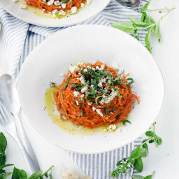 Spaghetti with Roasted Red Pepper Sauce and Goat Cheese