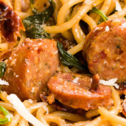 Spaghetti with Sun-Dried Tomatoes, Sausage, and Spinach