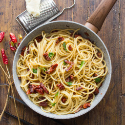 Spaghetti with Sun-Dried Tomatoes and Pancetta