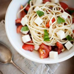 Spaghetti with Tomatoes, Basil, Olives, and Fresh Mozzarella