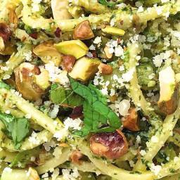 Spaghetti with Zucchini and Pistachio Pesto