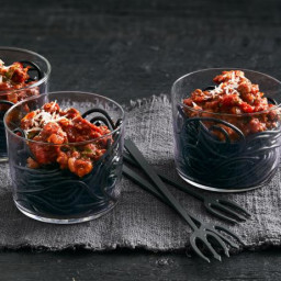 Spaghetti Worm Cups with Bolognese