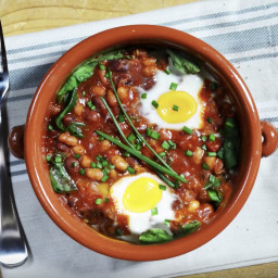 Spanish Baked Eggs and Beans