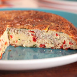 Spanish Tortilla with Chorizo, Piquillo Peppers and Gurroxta Cheese