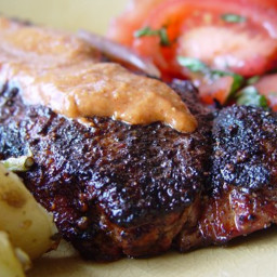 Spice-Crusted New York Strip Steaks With Mesa Grill Steak Sauce